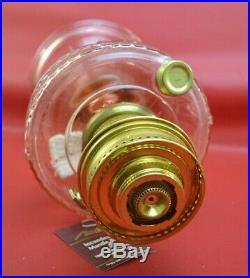 Aladdin Pink Short Lincoln Drape Oil Lamp, Model 23 Brass Burner
