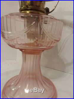 Aladdin Pink Tall Lincoln Oil Lamp Model B Mantle Kerosene Lamp