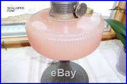 Aladdin QUEEN kerosene oil lamp w Rose Moonstone scalloped font