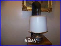 Aladdin Railroad Caboose Kerosene Oil Lamp Withwick Shade, Mantle, wooden plaque