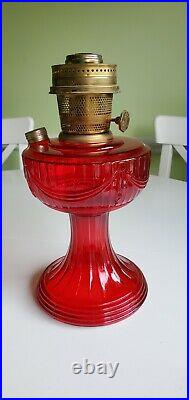 Aladdin Red Ruby Short Lincoln Drape 1979 Glass Lamp Fount and Model 23 Burner