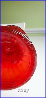 Aladdin Red Ruby Short Lincoln Drape 1979 Glass Lamp Fount and Model 23 Burner