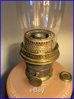Aladdin Rose Moonstone Vertique B-87 Moonstone Lamp Original with Burner & Chimney