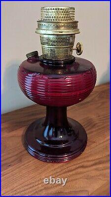 Aladdin Ruby Red Beehive Model B Kerosene Oil Lamp with Brass Burner Antique