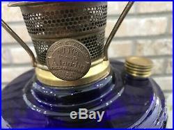 Aladdin Tall Lincoln Drape Cobalt Blue Oil Lamp B75 Model B Dogwood Shade 661