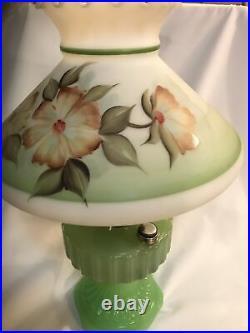 Aladdin Type B Corinthian Lamp Apple Green Jadite Handpainted Shade