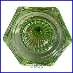 Aladdin Vaseline Green Nu-Type Corinthian Model B Kerosene Oil Lamp