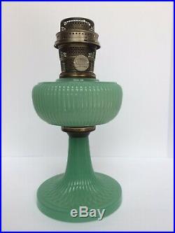 Aladdin Vertique Moonstone Green Lamp 1938 With Aladdin Model B Burner