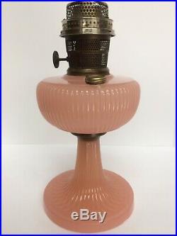 Aladdin Vertique Moonstone Rose Lamp 1938 With Aladdin Model B Burner