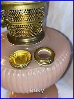 Aladdin Vertique Rose Moonstone Kerosene Oil Lamp B-87 Nu-Type ModelB 2 Chimneys