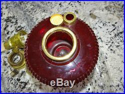 Aladdin Vertique Ruby Red Glass Kerosene Oil Lamp Vtg