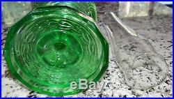 Aladdin Washington Drape Green Glass Kerosene Oil Lamp Vtg