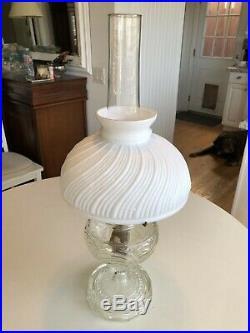 Aladdin Washington Drape Oil / Kerosene Lamp / White Ornate Shade / Chimney Orig
