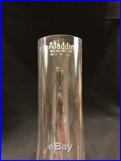 Aladdin White Lincoln Drape Kerosene Oil Lamp 1940s. 25 Inch With Wood Display