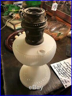 Aladdin White Moonstone Vertique Kerosene Table Lamp Circa 1938