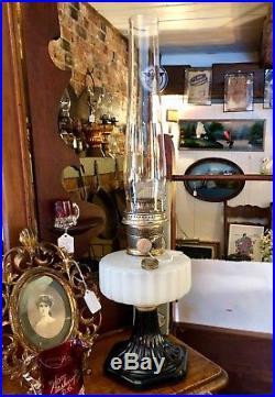 Aladdin White Moonstone and Black Corinthian Kerosene Oil Lamp