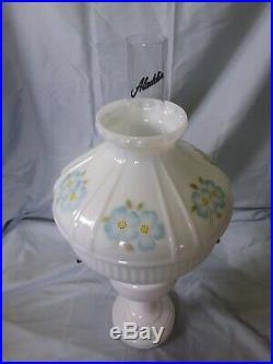 Aladdin White Simplicity Kerosene Oil Lamp Model B Burner WithDogwood Shade
