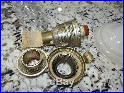 Aladdin White Venetian Glass Kerosene Oil Lamp Glass Model B Burner Vtg