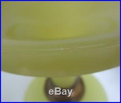 Aladdin Yellow Moonstone Vertique Vaseline Glass Kerosene Oil Lamp Circa 1930's