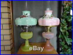 Aladdin Yellow-b-88 And Rose B-87 Vertique Lamps-1938 Beautiful Clean Condition