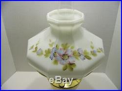 Aladdin brass Kerosene oil lamp milk glass shade hand painted flowers