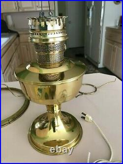 Aladdin kerosene brass lamp, with electric conversion Model C great condition
