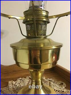 Aladdin kerosene oil table lamp brass Milk glass shade original chimney