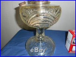 Aladdin mantel lamp antique used Crystal clear Washington drape & B brass burner