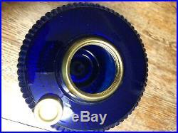 Aladdin style cobalt blue vertique oil lamp base excellent condition