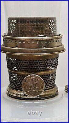 Aladdin white moonstone Diamond Quilt oil/kerosene lamp, burner, chimney RARE