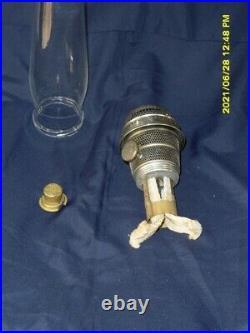Aladdin white moonstone Diamond Quilt oil/kerosene lamp, burner, chimney & extra