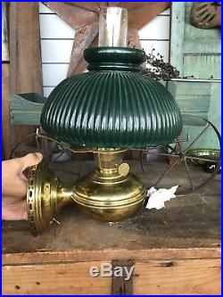 Antique 1915-16 Aladdin Model No 6 Wall Mount Lamp, Electrified, Green Shade