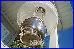 Antique 1920's Aladdin Frosted Crystal Shade & Nickle Kerosene Oil Hanging Lamp