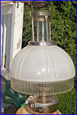 Antique 1920s Aladdin Frosted Crystal Shade & Nickle Kerosene Oil Hanging Lamp