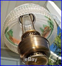 Antique 1920s Aladdin Reverse Painted Glass & Bronze Kerosene Oil Hanging Lamp