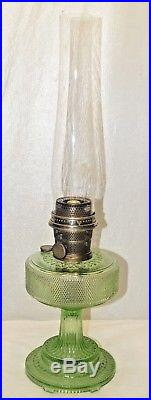 Antique 1933 Aladdin Green Colonial Kerosene Oil Table Lamp With Marked Chimney