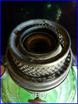 Antique ALADDIN -Green Glass WASHINGTON DRAPE- Kerosene MANTLE LAMP With CHIMNEY