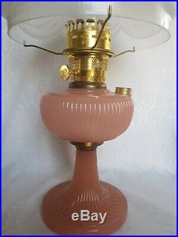 Antique ALADDIN PINK Vertique Kerosene Oil Lamp with Chimney & Shade GORGEOUS RARE