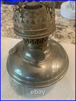 Antique Aladdin #1 Hanging Kerosene Lamp Fount & Burner Parts Silver Chrome