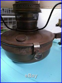 Antique Aladdin 1888 Steam Engine Wall Mount Oil Lamp With Original Shade