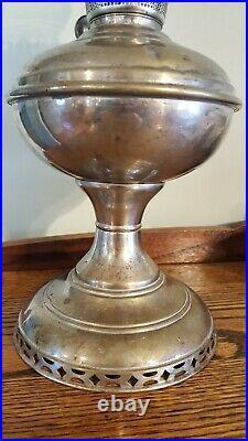 Antique Aladdin 1915-1916 Model 6, Kerosene Oil Lamp, Nickel Plated