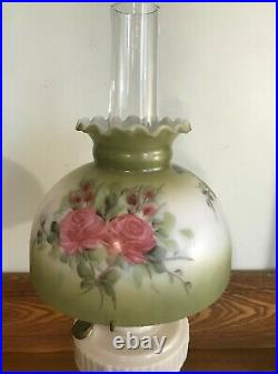 Antique Aladdin Alacite Lincoln Drape Kerosene Oil Lamp With Chimney & Spider