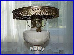 Antique Aladdin Alacite Lincoln Drape Nu-Type B Burner Kerosene Oil Lamp & Shade