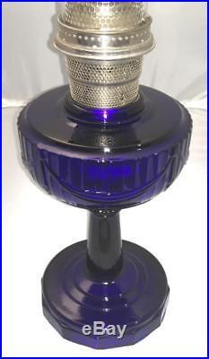 Antique Aladdin Cobalt Blue B Lincoln Drape Oil Lamp Tall 10 1/2 Not Scalloped