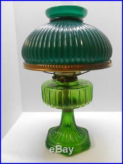 Antique Aladdin Corinthian Green Oil Lamp with Emerald Green Cased Aladdin Shade