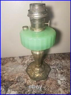 Antique Aladdin Corinthian Jadeite Green Kerosene Oil Lamp