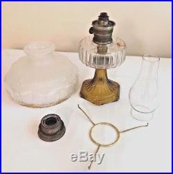 Antique Aladdin Corinthian Kerosene Oil Lamp Amber & Clear Model B Burner Shade