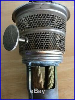 Antique Aladdin Emerald Green Washington Drape Glass Hurricane Kerosene Lamp