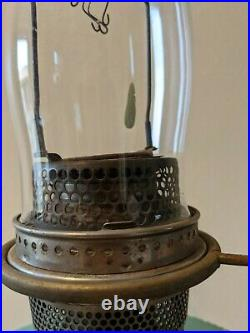 Antique Aladdin Green Moonstone B-97 Queen 1937-1939 Glass Brass Kerosene Lamp