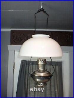 Antique Aladdin Hanging Kerosene Lamp Parts Milk Glass Shade